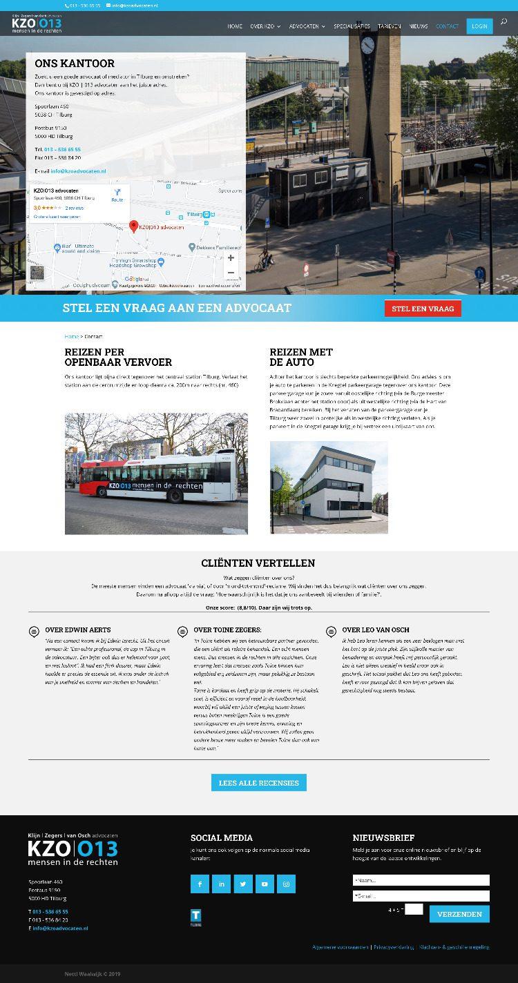 Contactpagina op de website van KZO 013 Advocaten Tilburg