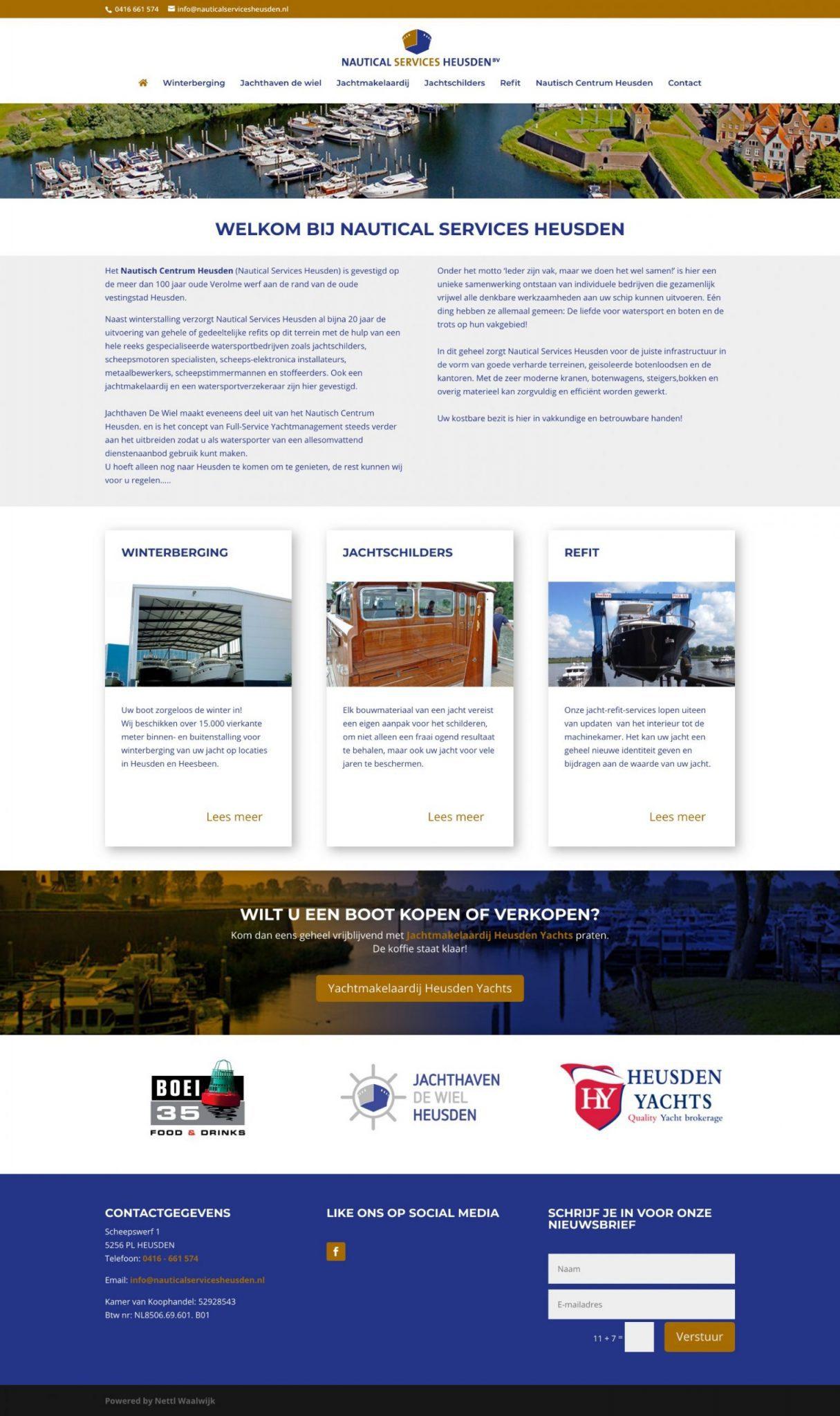 De homepage van Nautical Services Heusden