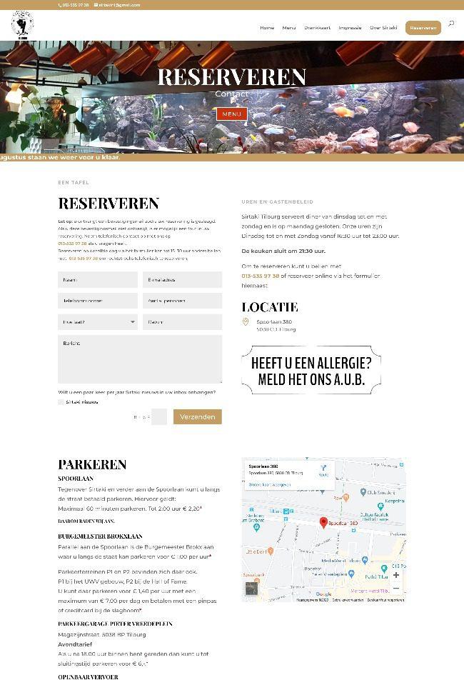 Pagina reserveren op de website van Grieks Specialiteitenrestaurant Sirtaki Tilburg