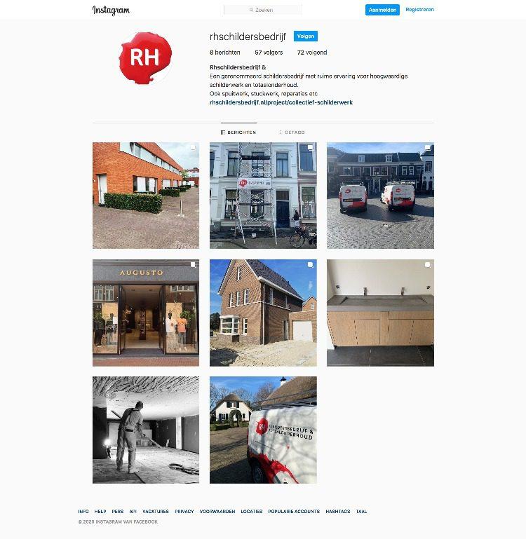 Instagram pagina van RH schildersbedrijf en totaalonderhoud